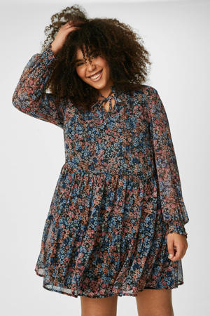 gebloemde semi-transparante jurk oudroze/blauw/zwart