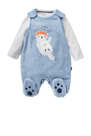 newborn baby boxpak met printopdruk grijs melange/blauw