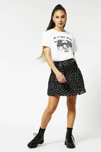 America Today mini rok met all over print zwart, Zwart