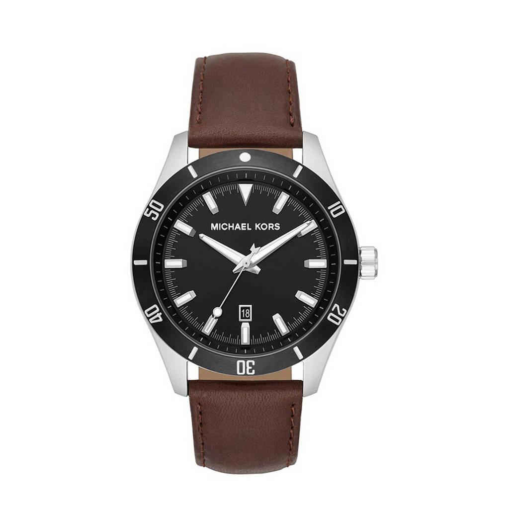 Michael Kors horloge MK8859 Layton Zilver, Bruin/zwart