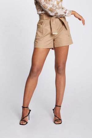 high waist straight fit short beige