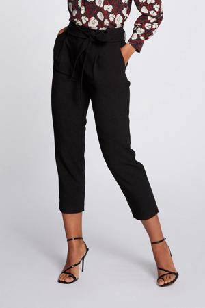 cropped high waist tapered fit broek zwart