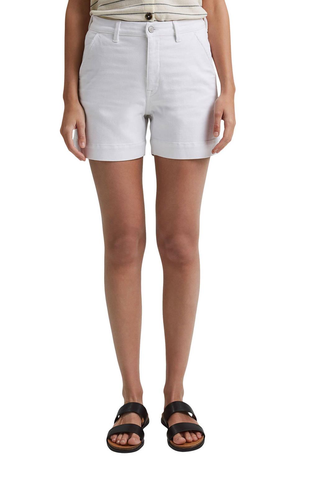 ESPRIT Women Casual jeans short met biologisch katoen wit, Wit