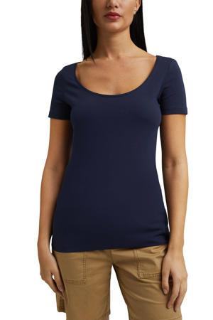 basic T-shirt met biologisch katoen donkerblauw
