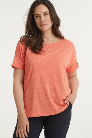 gemêleerd T-shirt van gerecycled polyester koraalrood