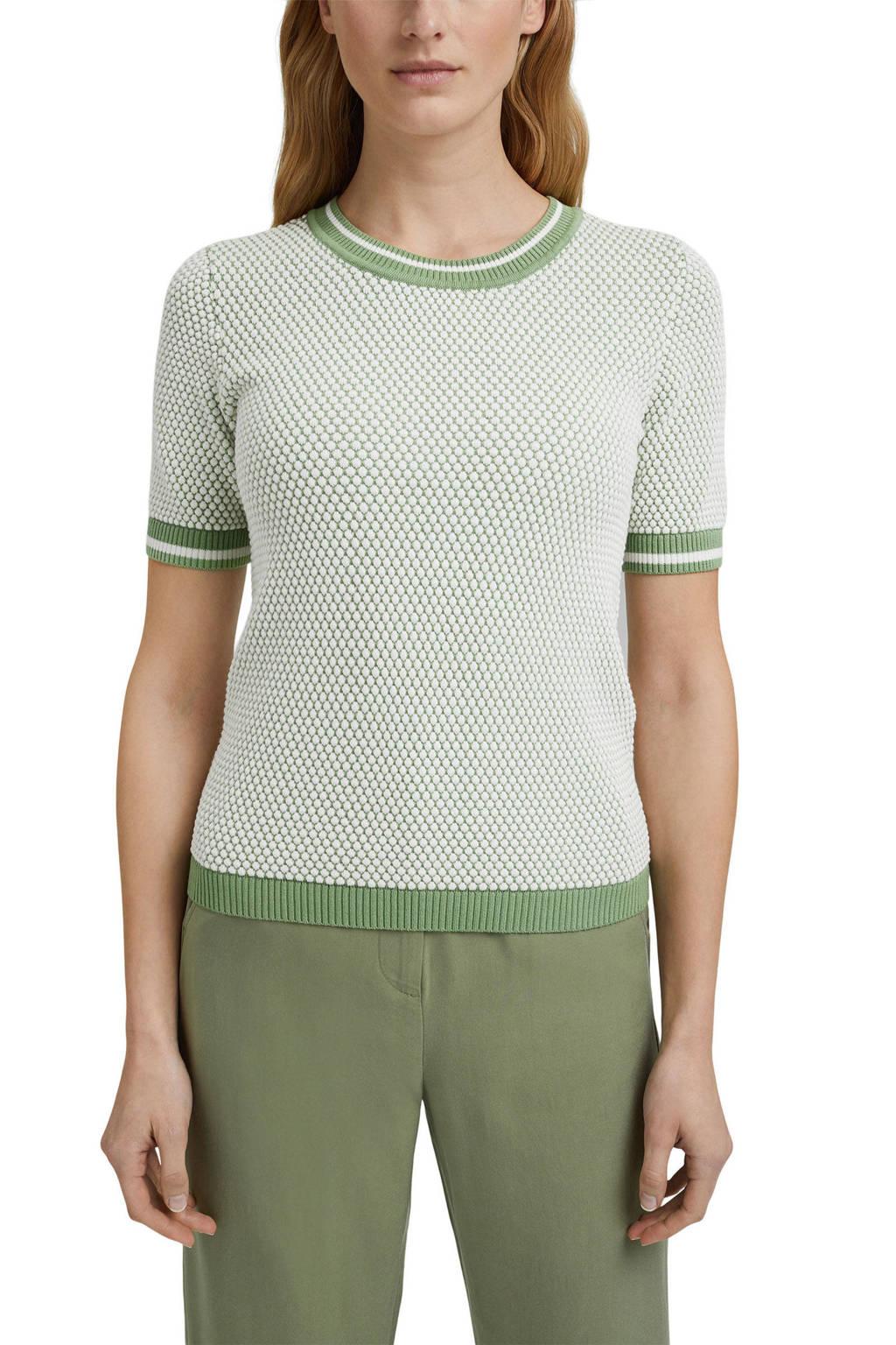 ESPRIT Women Casual gebreide top met biologisch katoen groen, Groen