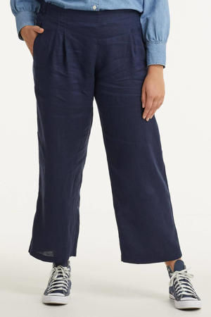 cropped straight fit culotte donkerblauw