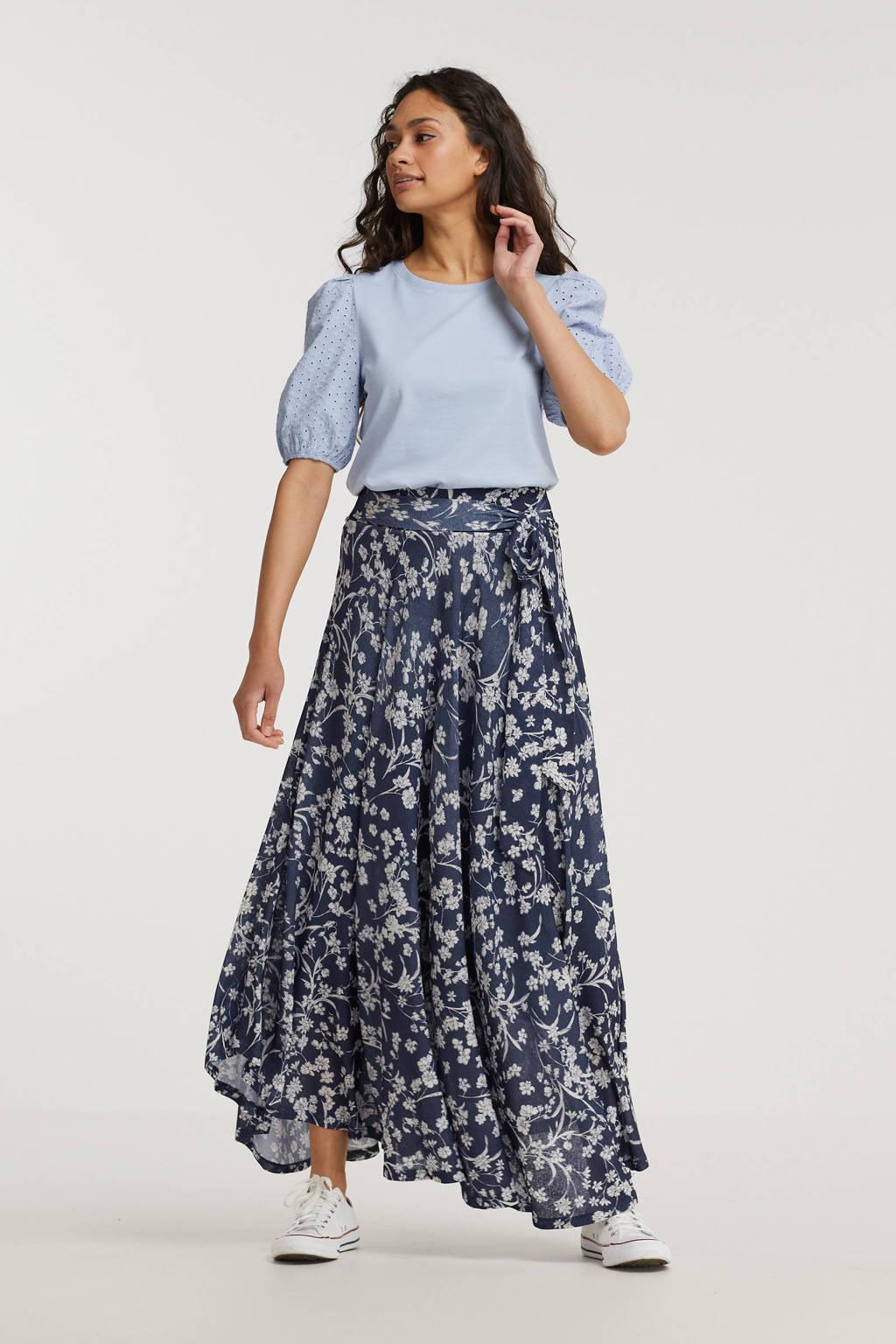 ESPRIT Women Casual gebloemde rok blauw, Blauw