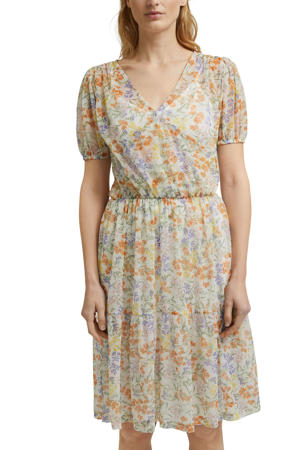 semi-transparante A-lijn jurk met all over print en plooien ecru/multi