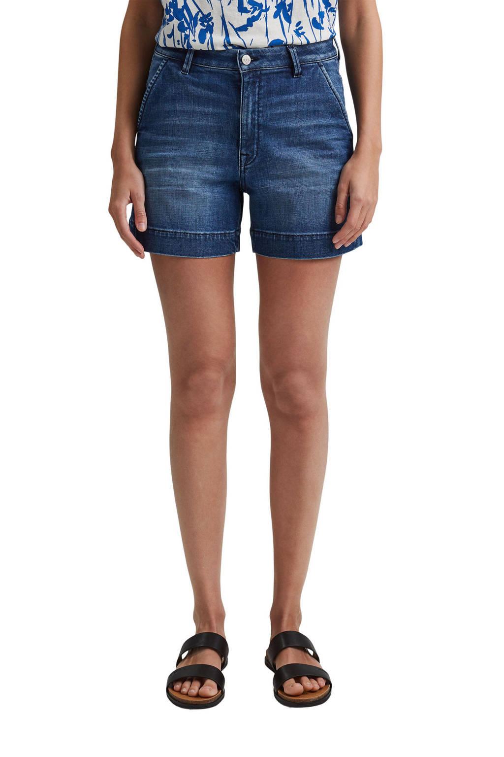 ESPRIT Women Casual jeans short met biologisch katoen dark denim, Dark denim