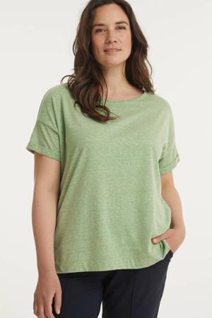 gemêleerd T-shirt van gerecycled polyester groen