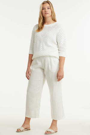 cropped straight fit culotte wit