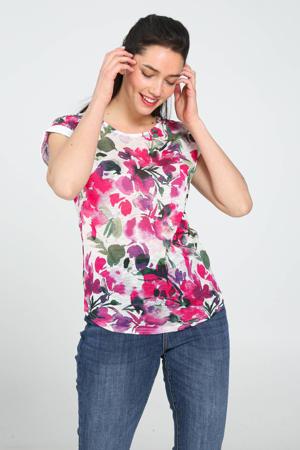 gebloemd T-shirt fushia
