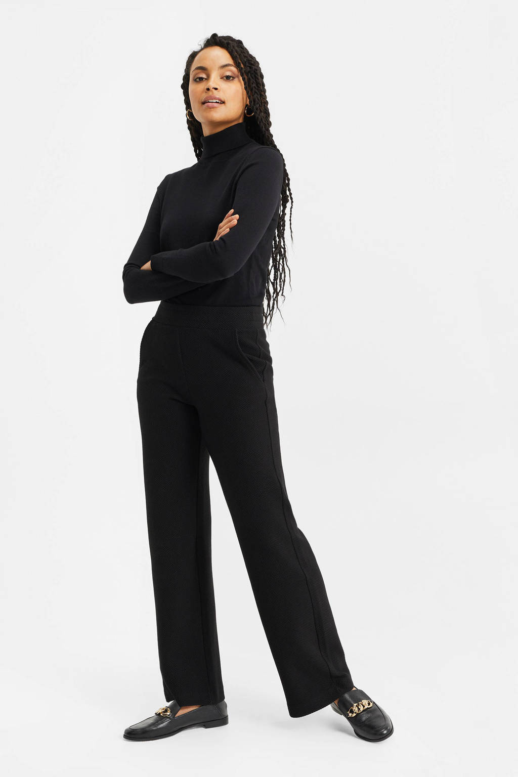 WE Fashion high waist loose fit broek met textuur zwart, Zwart