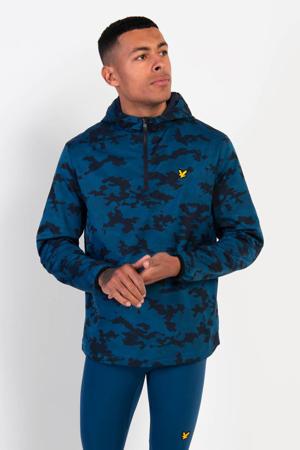 anorak camouflage print blauw/zwart