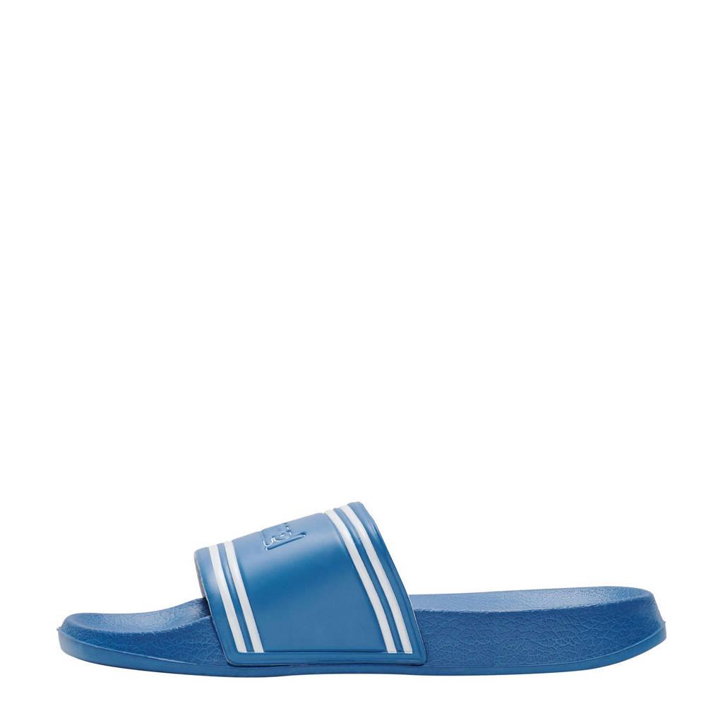 hummel Pool Slide Retro  badslippers kobaltblauw/wit, Kobaltblauw/wit