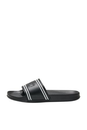 Pool Slide Retro  badslippers zwart/wit