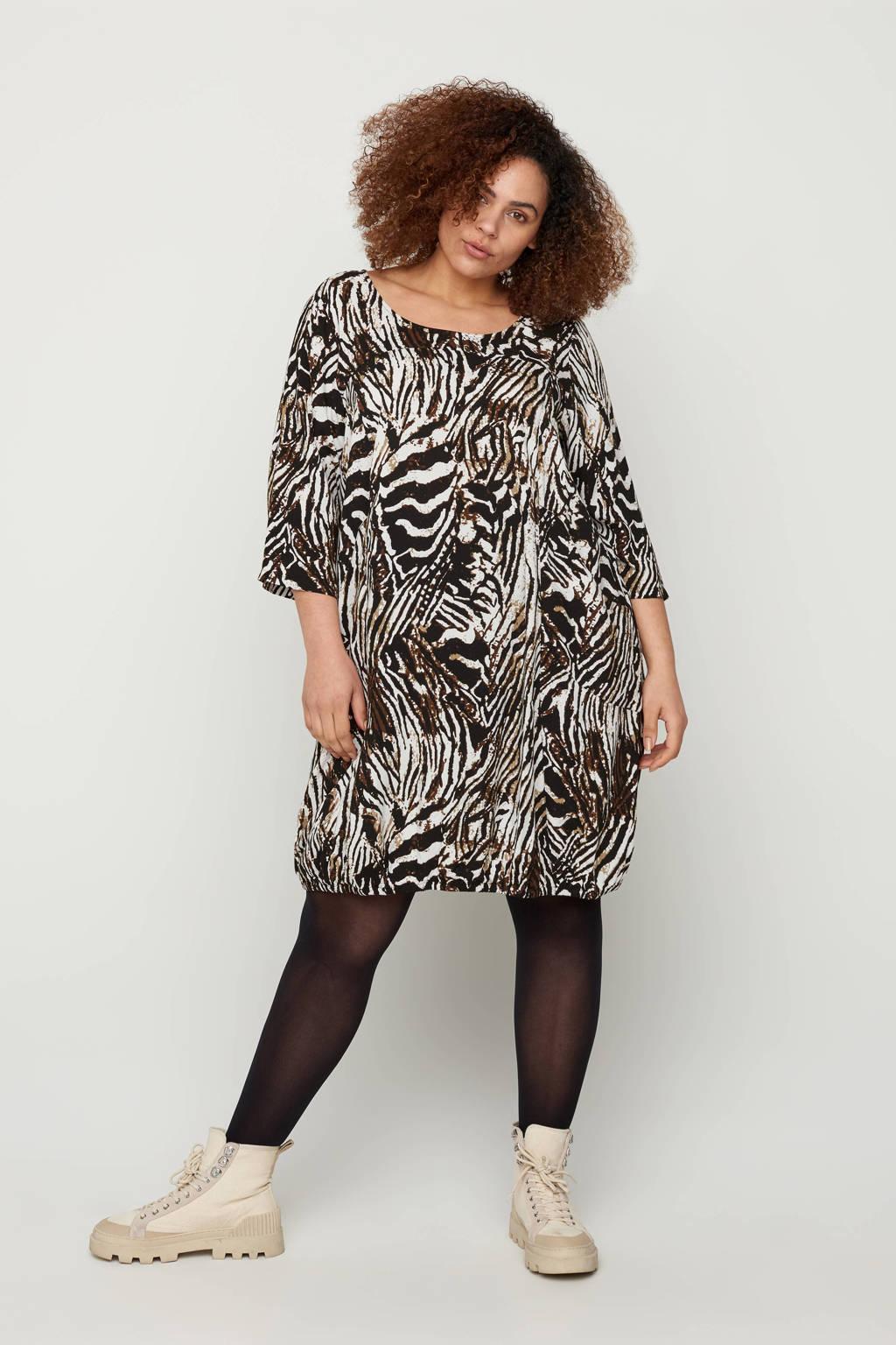 Zizzi jurk met zebraprint wit/zwart/bruin