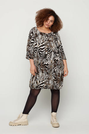 jurk met zebraprint wit/zwart/bruin