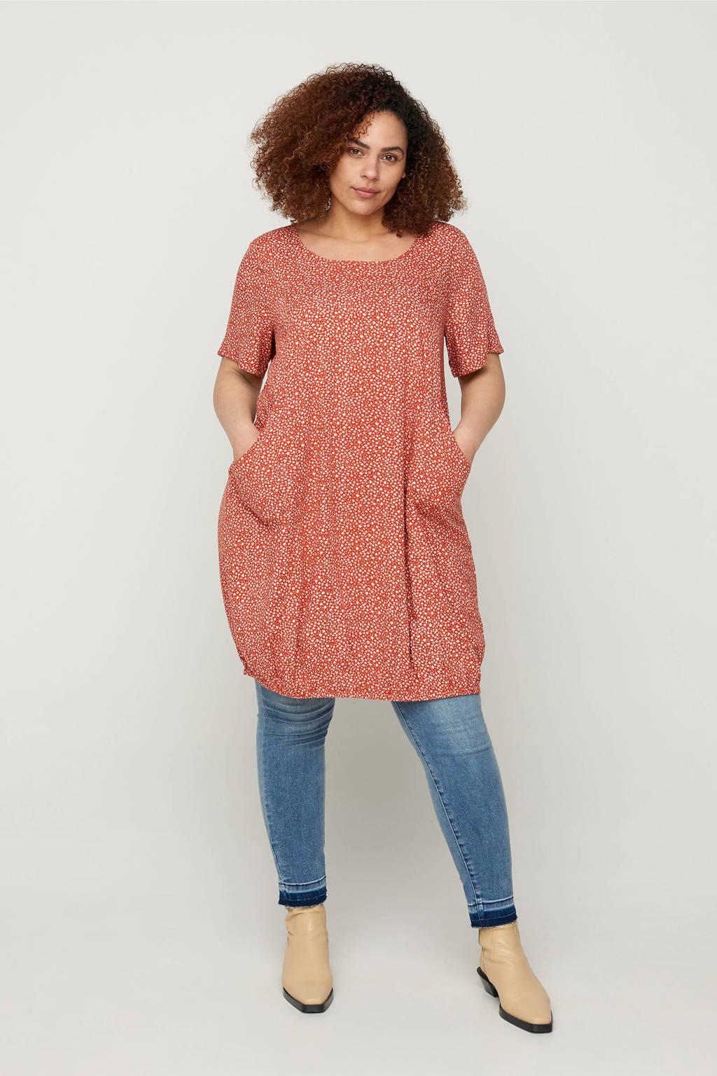 Zizzi jurk met bladprint koraalrood/wit, Koraalrood/wit