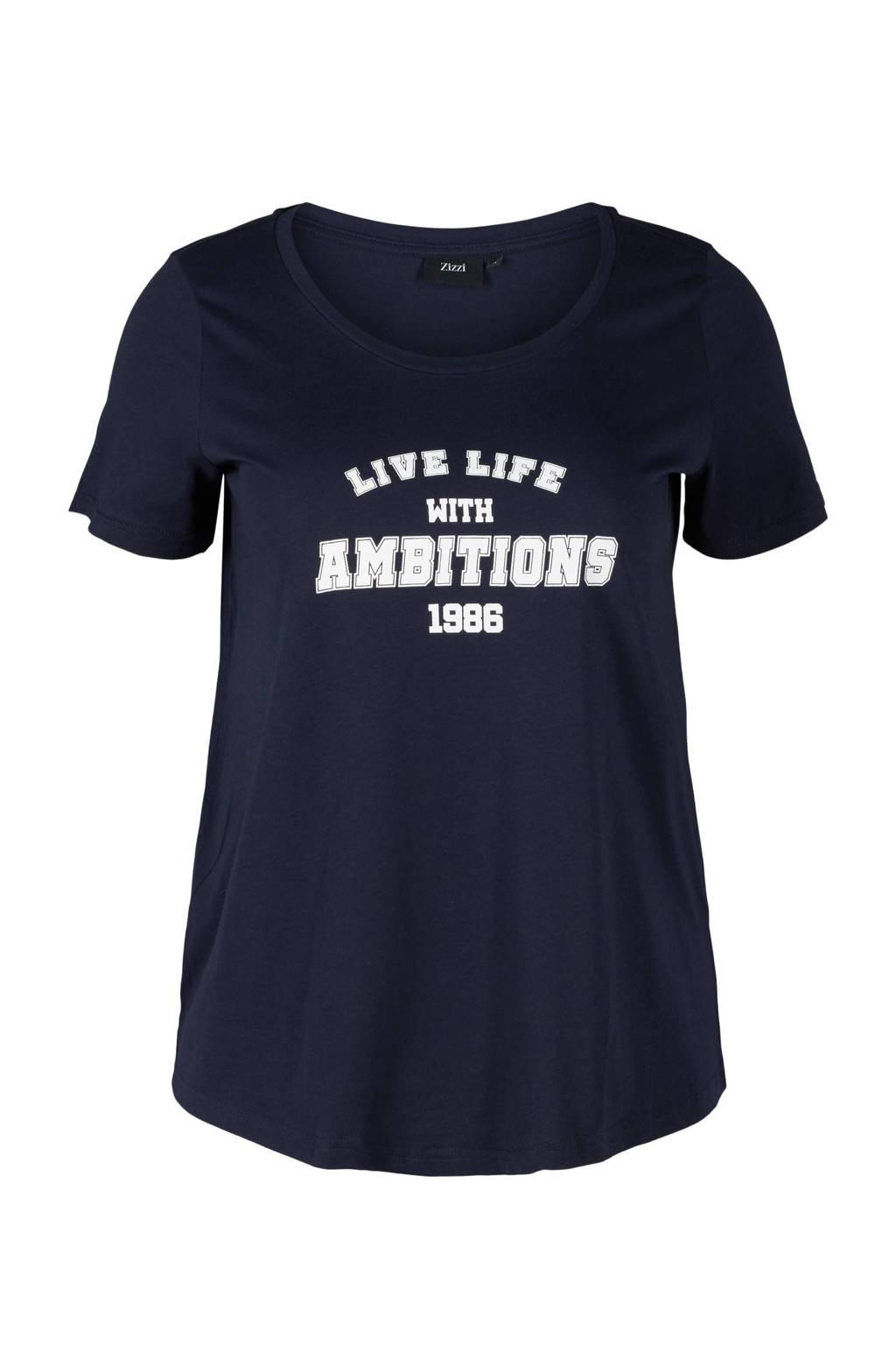 Zizzi T-shirt van biologisch katoen donkerblauw/wit, Donkerblauw/wit