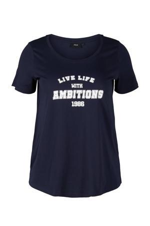 T-shirt van biologisch katoen donkerblauw/wit