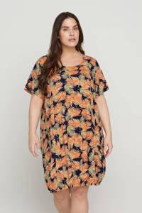 Zizzi jurk met bladprint zwart/oranje/goudgeel, Zwart/oranje/goudgeel