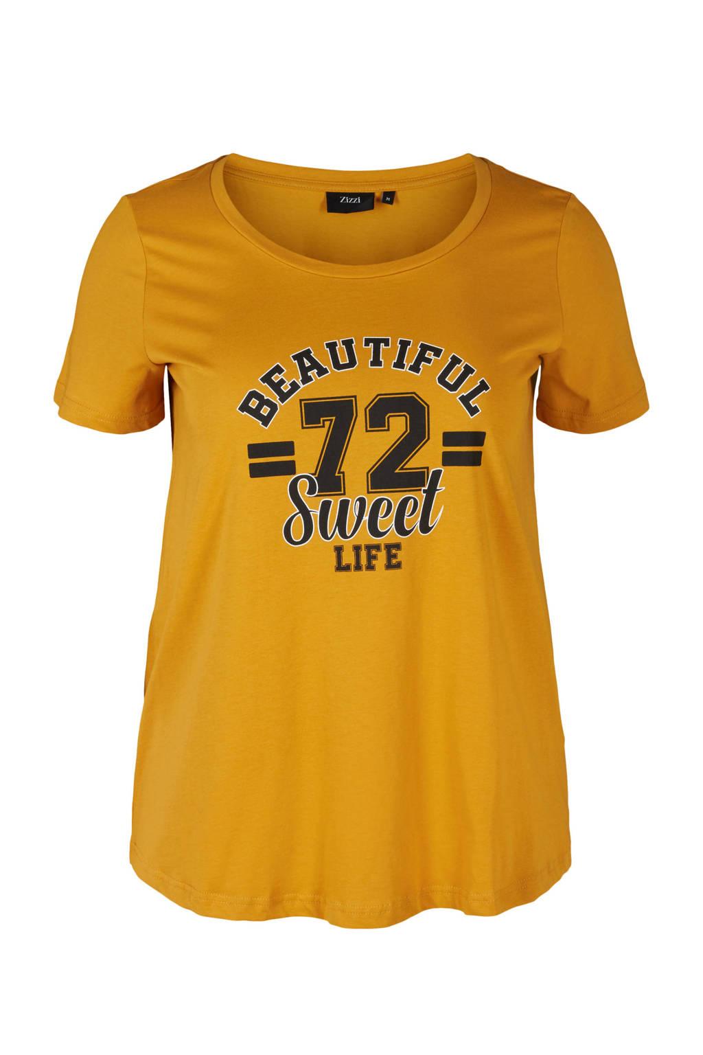 Zizzi T-shirt van biologisch katoen okergeel/zwart/wit, Okergeel/zwart/wit
