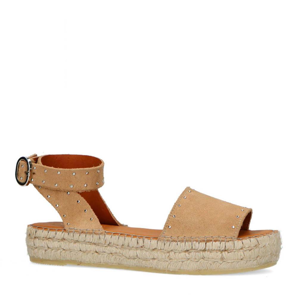 Sacha   suède plateau sandalen met studs beige, Beige
