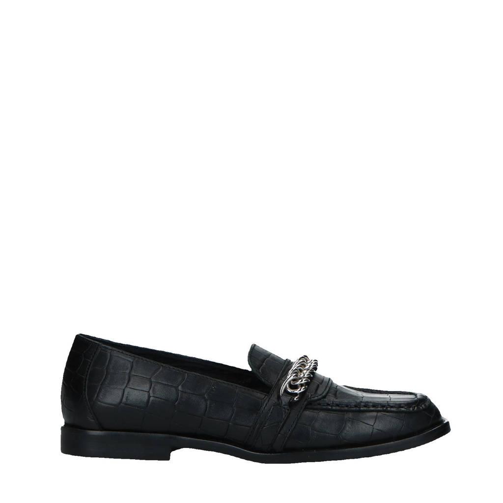 Sacha   leren loafers met crocoprint zwart, Zwart