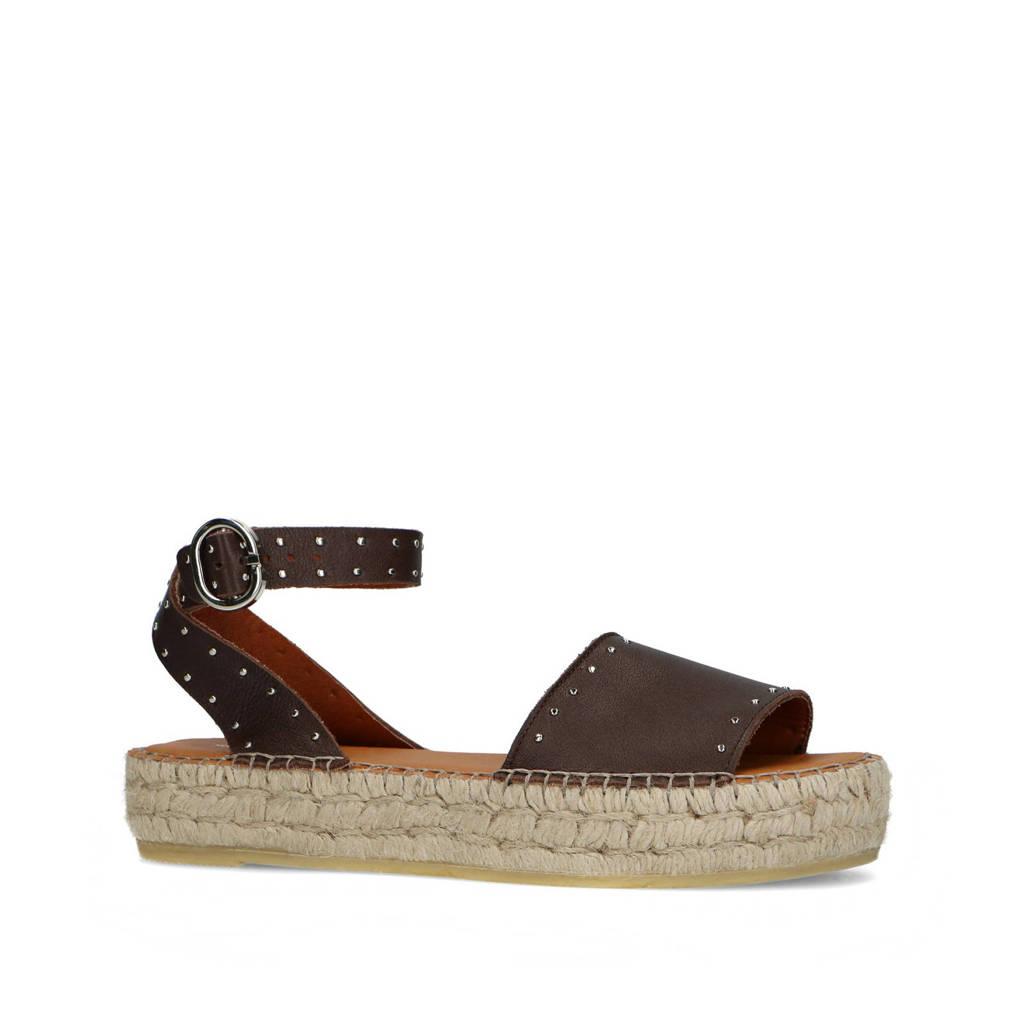 Sacha   leren plateau sandalen met studs donkerbruin, Donkerbruin