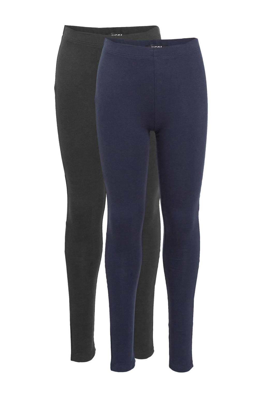 Zigga legging met biologisch katoen blauw/zwart - (set van 2), Blauw/zwart