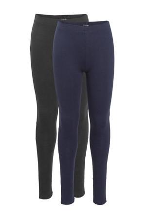 legging met biologisch katoen blauw/zwart - (set van 2)