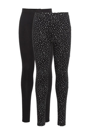 legging met biologisch katoen zwart/wit - (set van )