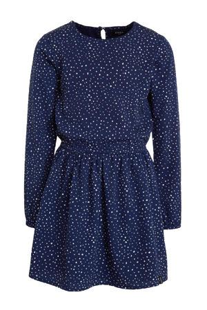 jurk met all over print donkerblauw/wit