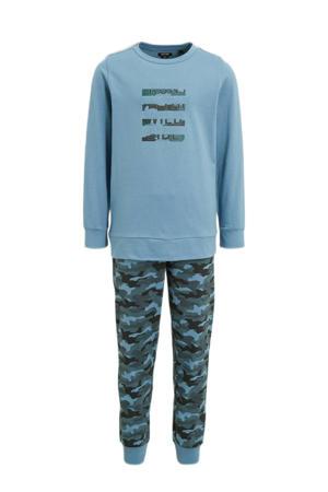 pyjama van biologisch katoen lichtblauw/groen