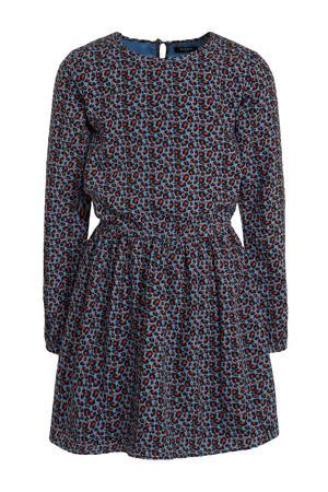jurk met panterprint blauw/roestbruin