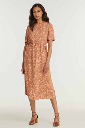 jurk IHVERA met all over print en ceintuur oranjebruin