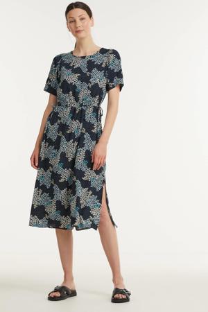 jurk IHVERA met all over print en ceintuur donkerblauw
