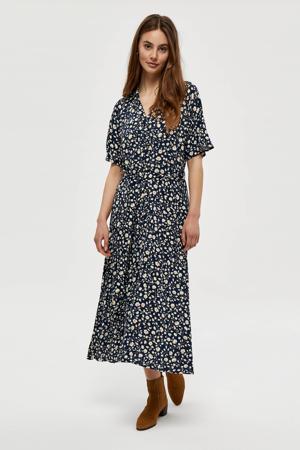 gebloemde jurk Leah donkerblauw/lichtgeel/oranje