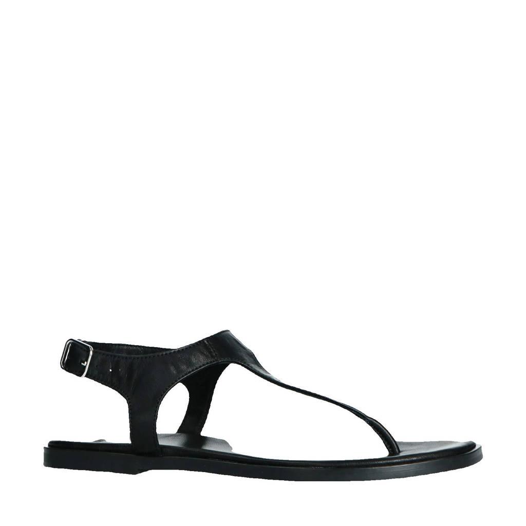 Manfield   leren sandalen zwart, Zwart