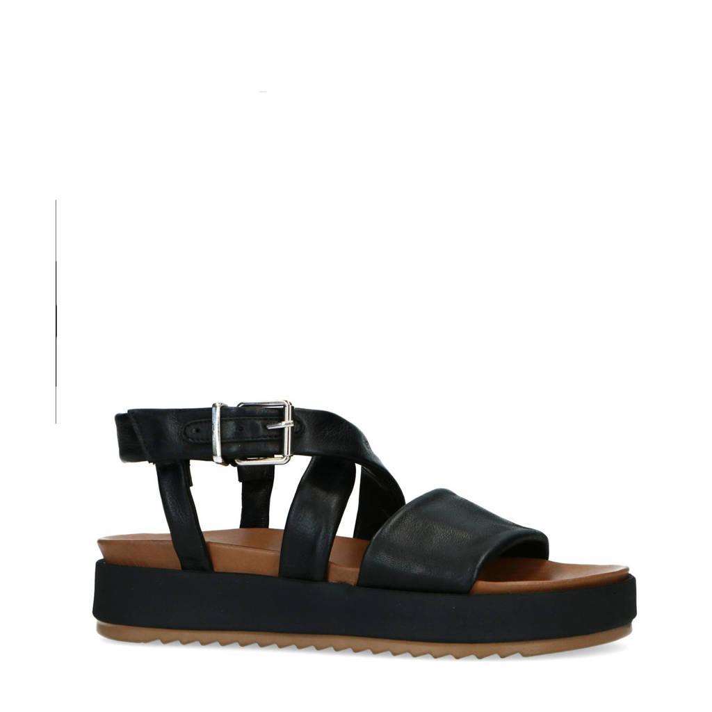 Manfield   leren plateau sandalen zwart, Zwart