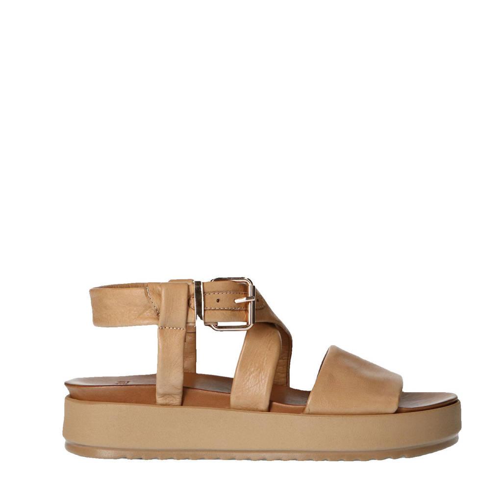 Manfield   leren plateau sandalen beige, Beige