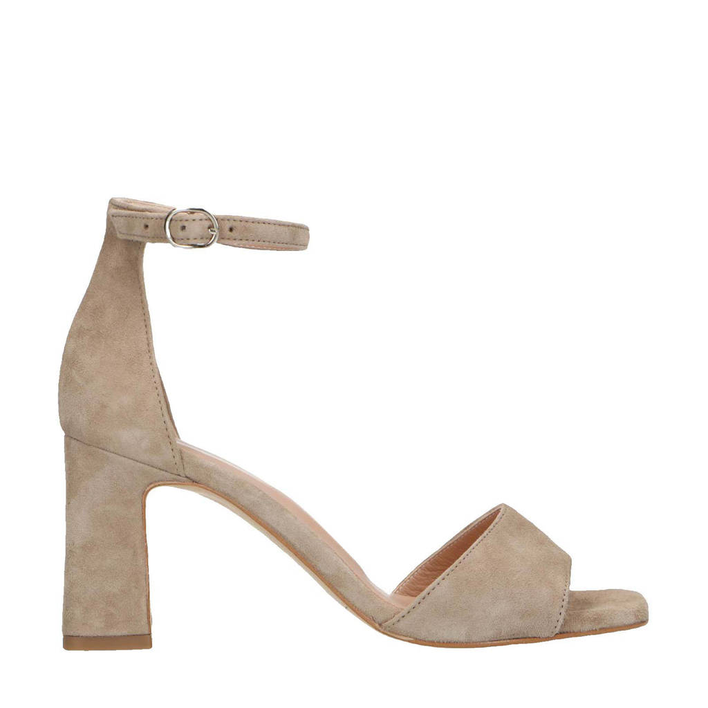 Manfield   suède sandalettes taupe, Taupe