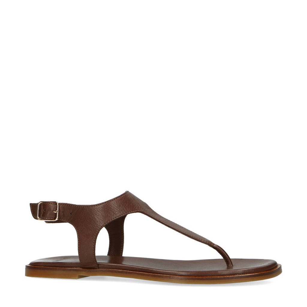 Manfield   leren sandalen bruin, Bruin