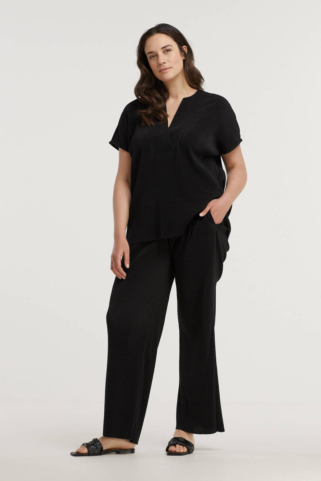 GREAT LOOKS plissé broek zwart, Zwart