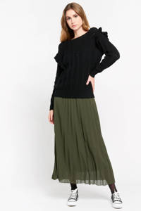 LOLALIZA trui met volant zwart, Zwart