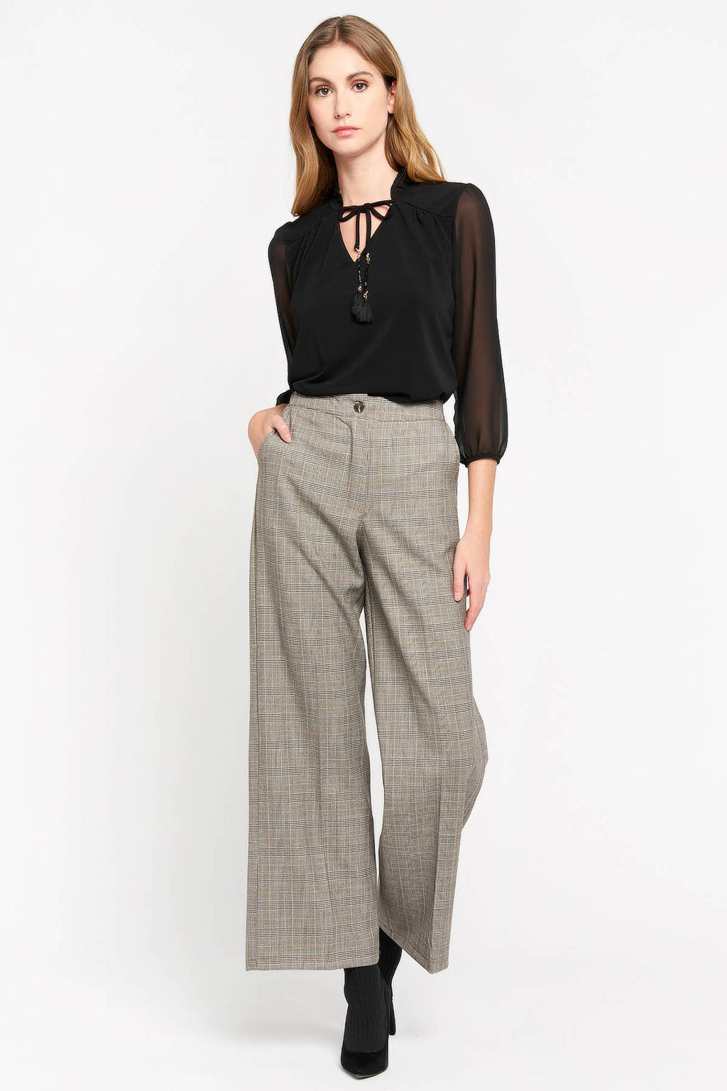 LOLALIZA geruite high waist loose fit broek beige, Beige