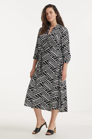 jurk met grafische print zwart/wit