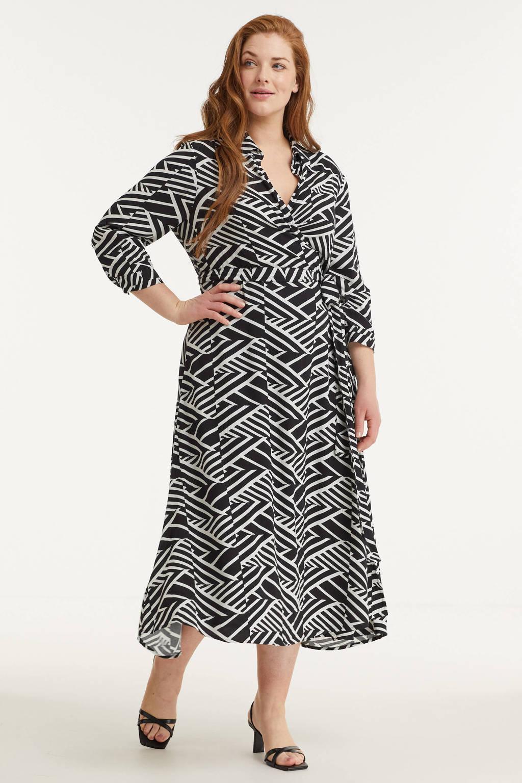 GREAT LOOKS jurk met grafische print zwart/wit, Zwart/wit